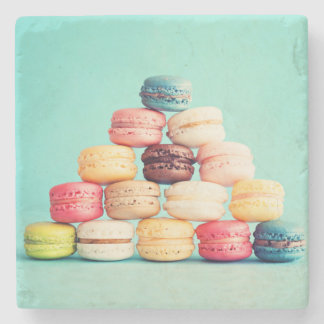 Hungry, Macaron, hipster,multicolor,sweets cookies Stone Coaster