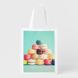 Hungry, Macaron, hipster,multicolor,sweets cookies Reusable Grocery Bags