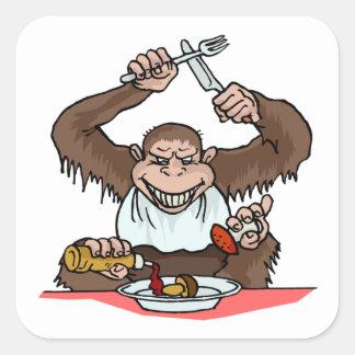 Hungry Monkey Square Sticker
