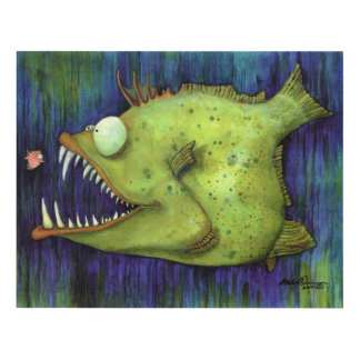 """""""Hungry Ned"""" Fish Watercolor by Mike Quinn Panel Wall Art"""
