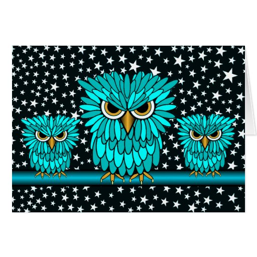 hungry owls greeting card