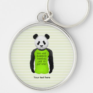 Hungry Panda Wearing A Funny Tshirt Keychain