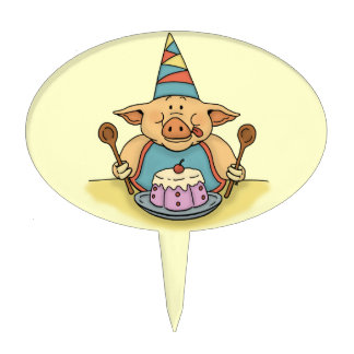 hungry piggy birthday cake toppers