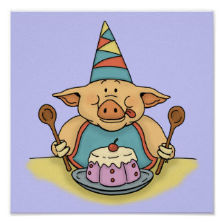 hungry piggy birthday posters
