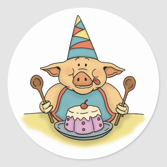 hungry piggy funny birthday sticker