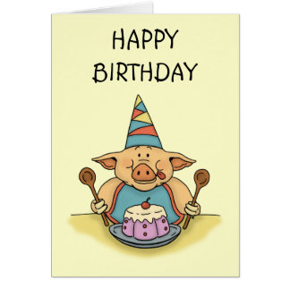 hungry piggy happy birthday note card