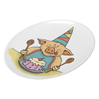 hungry piggy happy birthday plate