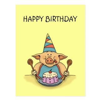 hungry piggy happy birthday postcard