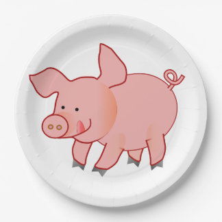 Hungry pink piggy paper plate