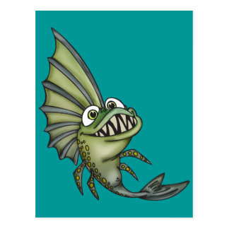 Hungry Piranha Fish Postcard