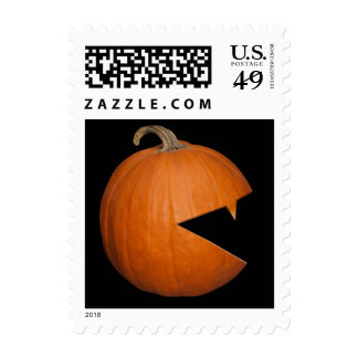 Hungry Pumpkin Postage Stamp