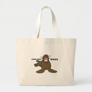 Hungry Sea Lion Large Tote Bag