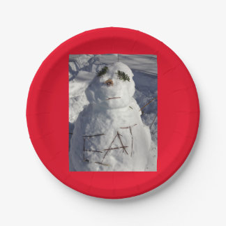 hungry snowman paper plate
