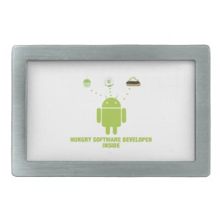 Hungry Software Developer Inside (Bug Droid) Belt Buckles