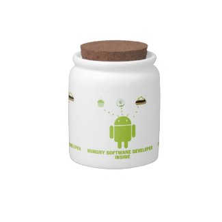 Hungry Software Developer Inside (Bug Droid) Candy Jars