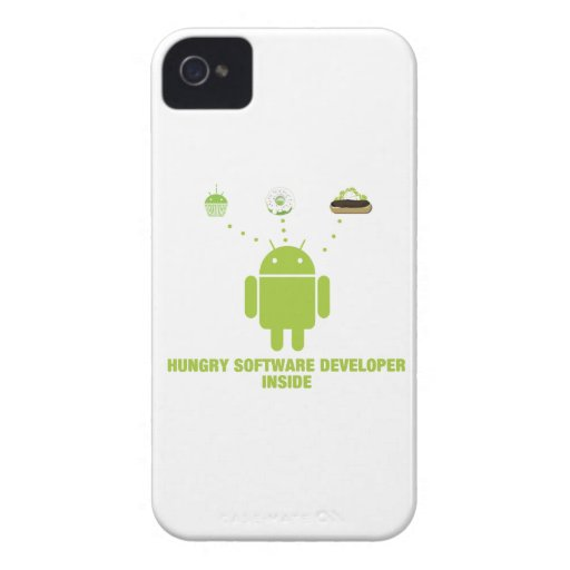 Hungry Software Developer Inside (Bug Droid) iPhone 4 Cases