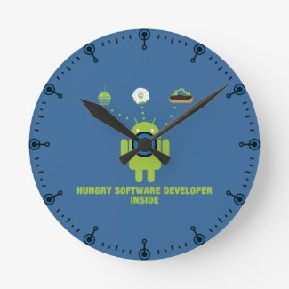 Hungry Software Developer Inside (Bug Droid) Wall Clock