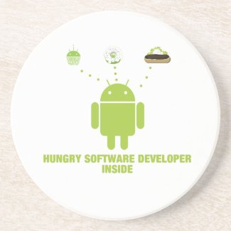 Hungry Software Developer Inside (Bug Droid) Beverage Coaster