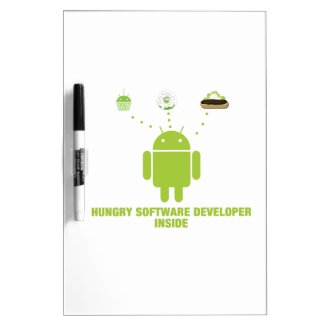 Hungry Software Developer Inside (Bug Droid) Dry-Erase Boards