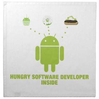Hungry Software Developer Inside (Bug Droid) Printed Napkin