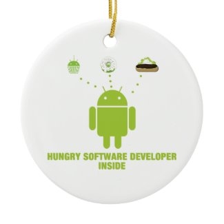 Hungry Software Developer Inside (Bug Droid) Christmas Tree Ornament
