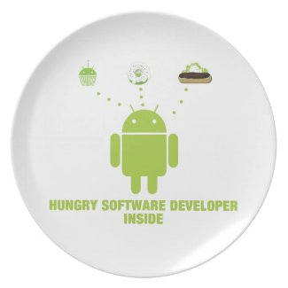 Hungry Software Developer Inside (Bug Droid) Dinner Plates