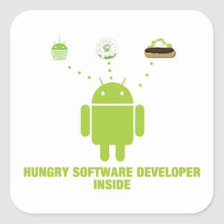 Hungry Software Developer Inside (Bug Droid) Square Sticker