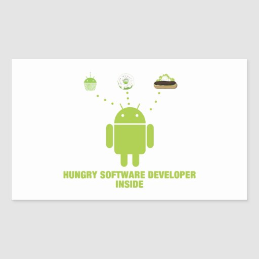 Hungry Software Developer Inside (Bug Droid) Stickers