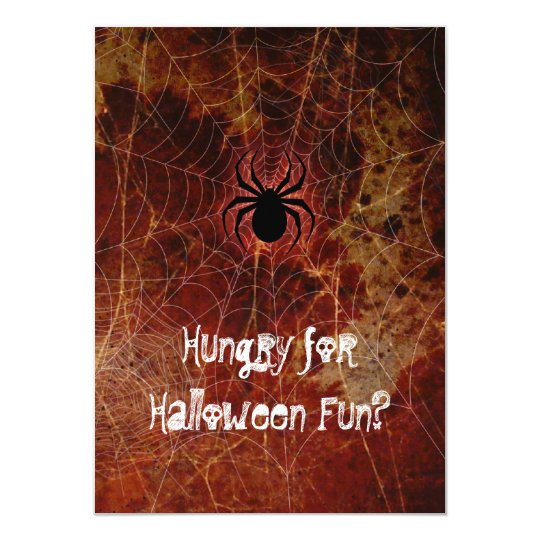Hungry Spider Halloween Party Card