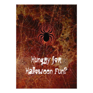 Hungry Spider Halloween Party Custom Invites