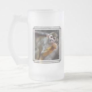 Hungry Squirrel Monkey  Frosted Beer Mug