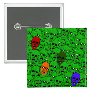 Hungry Undead Zombie Heads 2 Inch Square Button