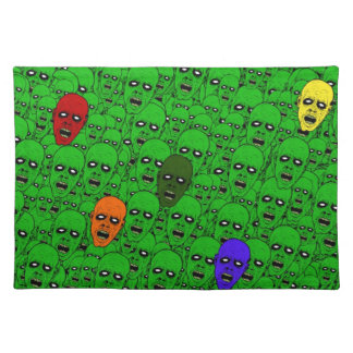 Hungry Undead Zombie Heads Cloth Place Mat