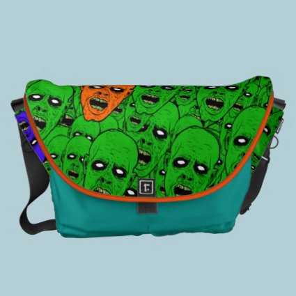 Hungry Undead Zombie Heads Messenger Bag