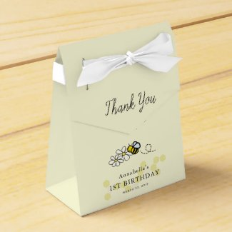 Hunny Bee Daisy Floral Yellow Girl Birthday Favor Box