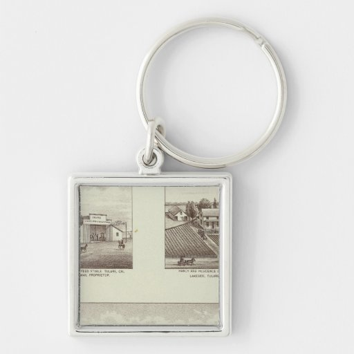 Hunsaker ranch, Woodville Silver-Colored Square Keychain