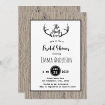 """""""Hunt is Over"""" Rustic Antler Barnwood Wedding Invitation"""