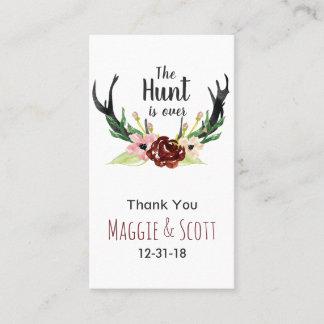 Hunt is Over Rustic Antler Burgundy Floral Wedding Business Card