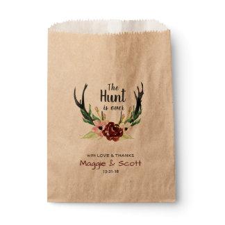 Hunt is Over Rustic Antler Burgundy Floral Wedding Favor Bag