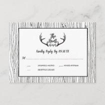 """""""Hunt is Over"""" Rustic Wood Antler Wedding RSVP Invitation"""