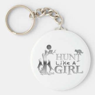 HUNT LIKE A GIRL COON HUNTING BASIC ROUND BUTTON KEYCHAIN