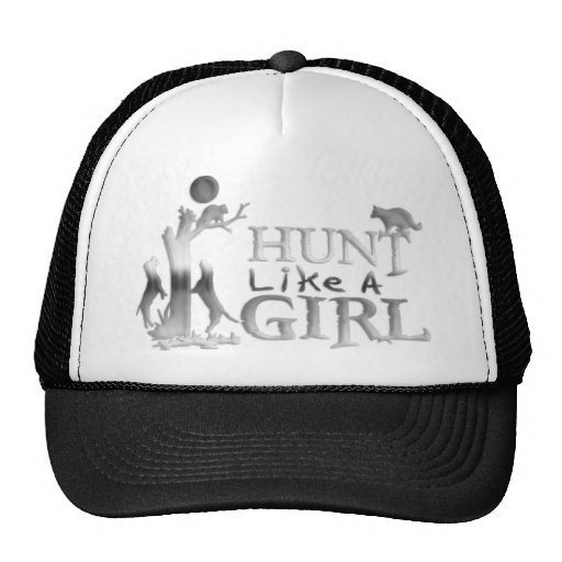 HUNT LIKE A GIRL COON HUNTING TRUCKER HATS