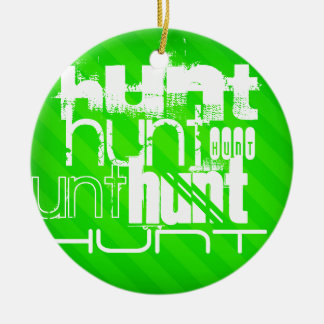 Hunt; Neon Green Stripes Double-Sided Ceramic Round Christmas Ornament