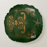 Hunter and Gold Celtic Round Pillow