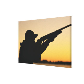 Hunter and Gun Stretched Canvas Print