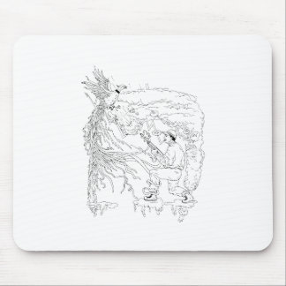 Hunter and Pheasant Ukiyo-e Mouse Pad