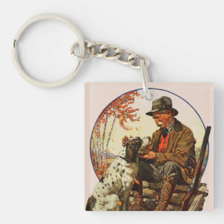 Hunter and Spaniel Double-Sided Square Acrylic Keychain