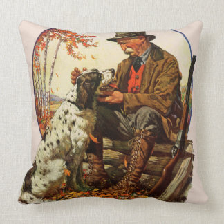 Hunter and Spaniel Throw Pillow