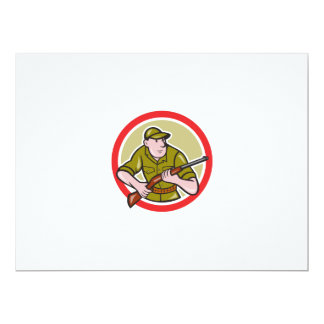 Hunter Carrying Rifle Cartoon Personalized Announcements