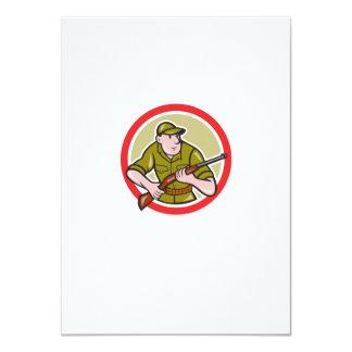Hunter Carrying Rifle Cartoon 11 Cm X 16 Cm Invitation Card